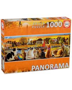 Puzzle panoramic Educa de 1000 piese -Pisici la dig
