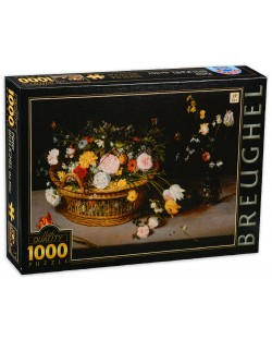 Puzzle  D-Toys de 1000 piese - Pieter Brueghel the Elder, Flower in a Basket and a Vase