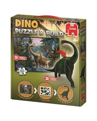 Puzzle Jumbo  de 50 piese- Cu figurina dinozaur 3D inclusa - 1