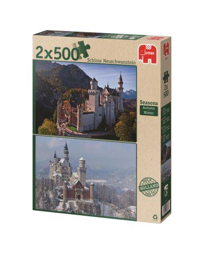 Puzzle Jumbo 2 x 500 piese - Atunci si acum, Anotimpuri, Toamna si iarna - 1