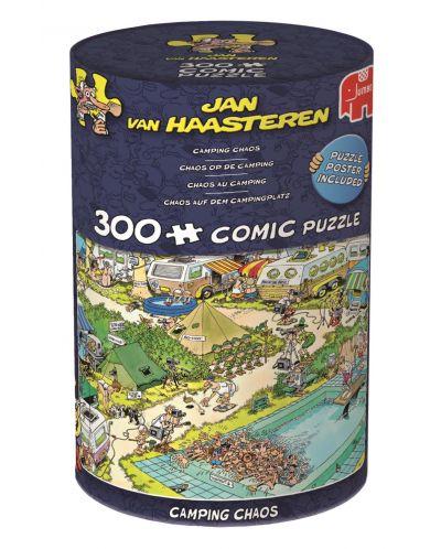 Puzzle Jumbo de 300 piese - Haos in camping , Jan Van Haasteren - 1