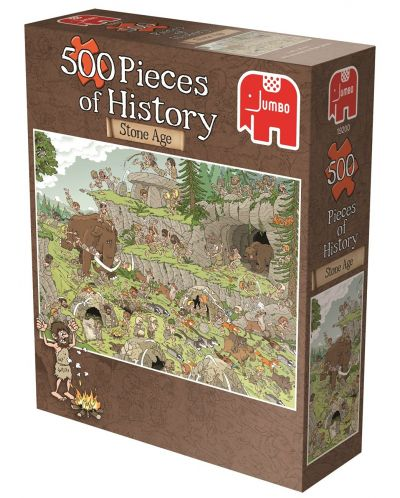 Puzzle Jumbo de 500 piese - Bucati de istorie , Epoca de piatra, Derks - 1