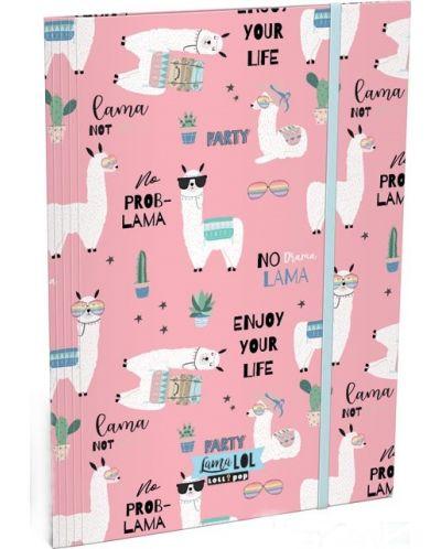 Dosar cu elastic Lizzy Card A4 - Lama LOL, Lollipop - 1