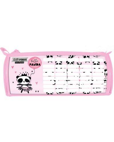 Penar scolar oval Lizzy Card - Hello Panda, cu orar - 1