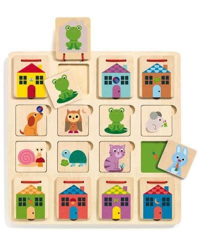 Puzzle multistrat din lemn Djeco - Cabanimo, 3 niveluri - 1