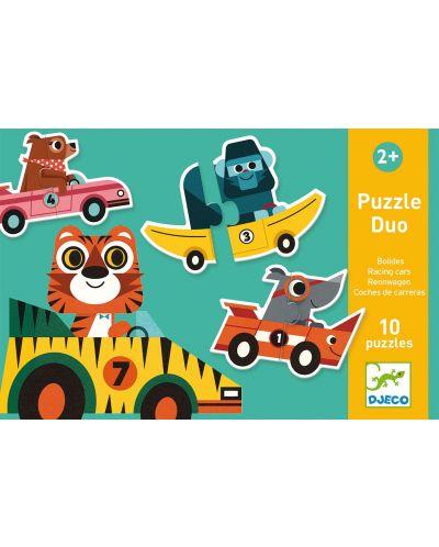 Puzzle educativ Djeco Duo din 20 de piese - Masini de curse - 1