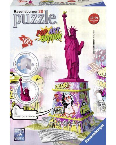 Puzzle 3D Ravensburger cu 108 piese - Statuia Libertatii, Popart - 1
