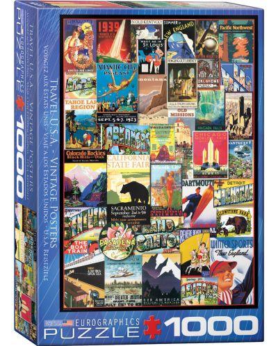 Puzzle Eurographics de 1000 piese – Reclame retro, calatorie in America - 1