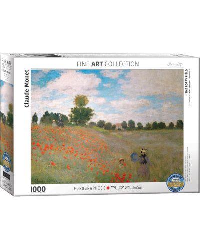 Puzzle Eurographics de 1000 piese – Camp cu maci, Claude Monet - 1