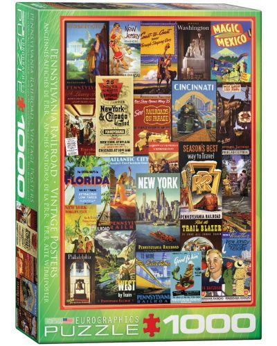 Puzzle Eurographics de 1000 piese – Reclame retro pentru calatorii in jurul lumii - 1