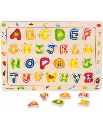 Puzzle din lemn cu manere Hape - Alfabet - 1