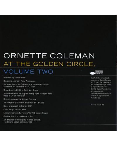 The Ornette Coleman Trio - At The Golden Circle Stockholm Volume 2 (CD) - 2