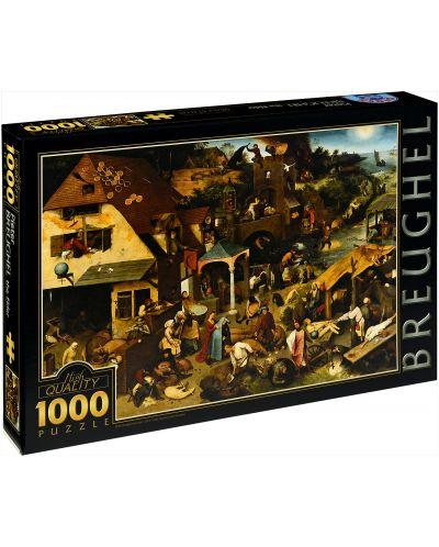 Puzzle D-Toys de 1000 piese – Proverbe olandeze, Pieter Bruegel  - 1