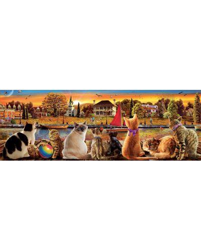 Puzzle panoramic Educa de 1000 piese -Pisici la dig - 2
