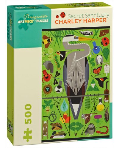 Puzzle Pomegranate de 500 piese - Sanctuarul secret, Charley Harper - 1