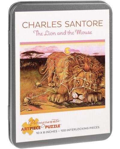 Puzzle Pomegranate de 100 piese - Leul si soricelul, Charles Santore - 1