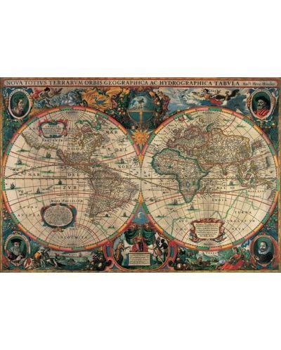Puzzle Pomegranate de 1000 piese - Harta antica a lumii, Henricus Hondius - 2