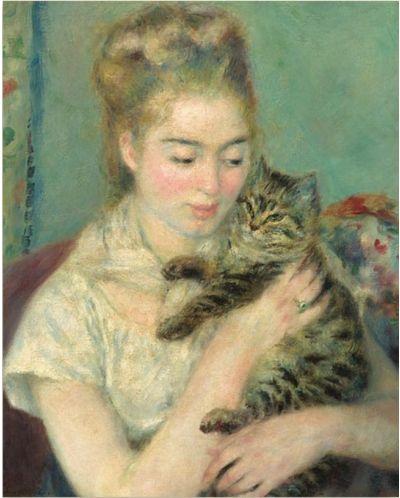 Puzzle Pomegranate de 100 piese - Femeie cu pisica, Pierre Renoir - 2