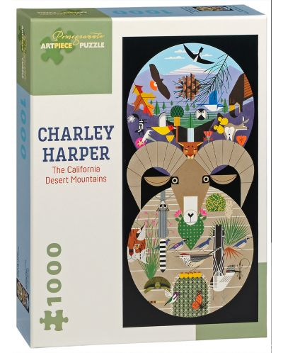 Puzzle Pomegranate de 1000 piese - Muntii desertului in California, Charley Harper - 1