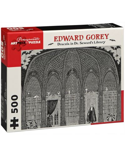 Puzzle Pomegranate de 500 piese - Dracula la biblioteca, Edward Gorey - 1