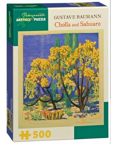 Puzzle Pomegranate de 500 piese - Opuntia si Sahuaro, Gustave Baumann - 1