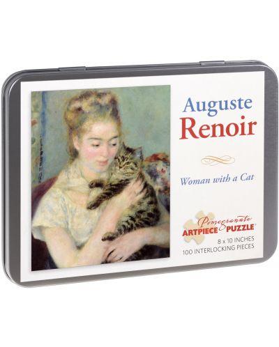Puzzle Pomegranate de 100 piese - Femeie cu pisica, Pierre Renoir - 1