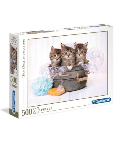 Puzzle Clementoni de 500 piese - Pisici si sapun - 1