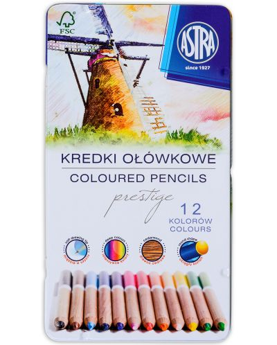 Creioane din lemn de cedru Astra Prestige - 12 culori, in cutie metalica - 1