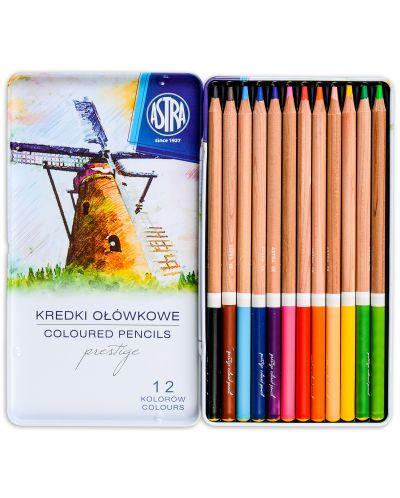 Creioane din lemn de cedru Astra Prestige - 12 culori, in cutie metalica - 2