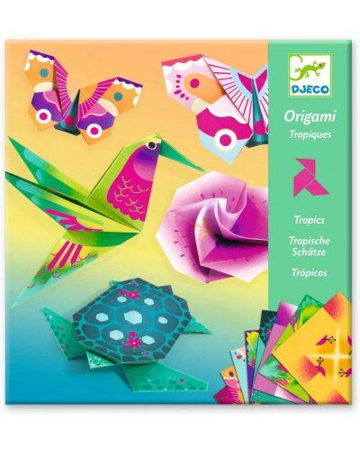 Set pentru origami Djeco - Tropic, cu 24 de hartii neon - 1
