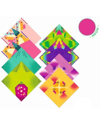Set pentru origami Djeco - Tropic, cu 24 de hartii neon - 2