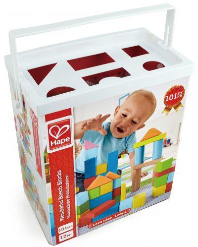 Cuburi din lemn in cutie sortatoare Hape - 101 piese - 1