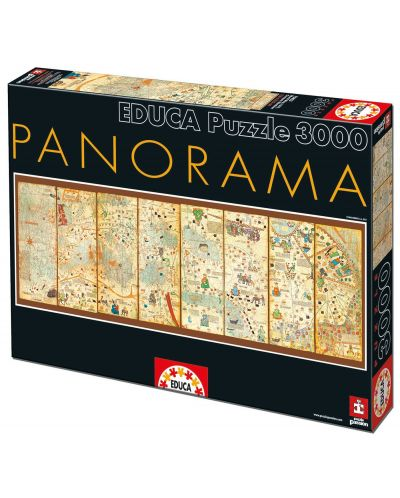 Puzzle panoramic Educa de 3000 piese - Harta medievala, Abraham Cresques - 1