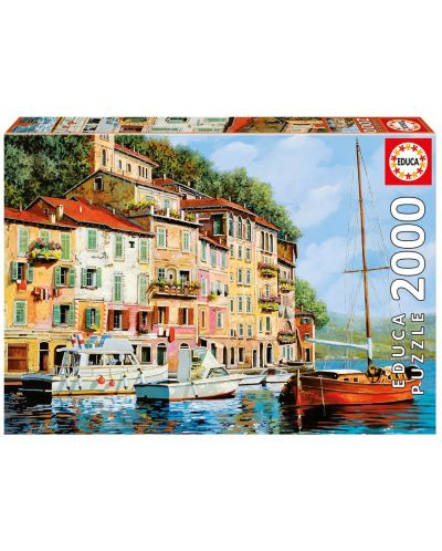 Puzzle Educa de 2000 piese - Barca rosie in Calgata, Guido Borelli - 1