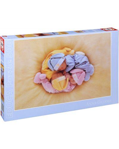 Puzzle Educa de 500 piese - Bebelusi dormind, Anne Geddes - 1