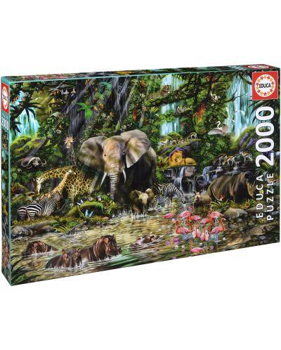 Puzzle Educa de 2000 piese - Jungla africana, John Enright - 1