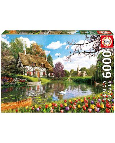 Puzzle Educa de 6000 piese - Casuta langa lac - 1