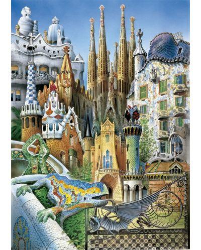 Puzzle Educa de 1000 piese mini - Colaj, cladirile lui Gaudi, miniatura - 2