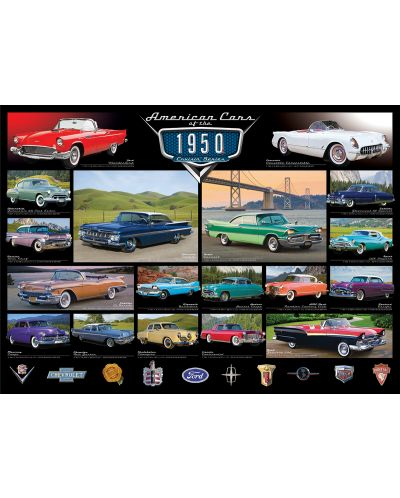 Puzzle Eurographics de 1000 piese – Autoturisme clasice din anul 1950  - 2