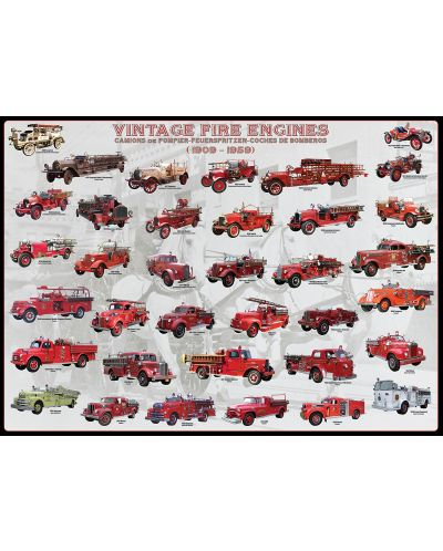 Puzzle Eurographics de 1000 piese – Camioane de pompieri antice - 2
