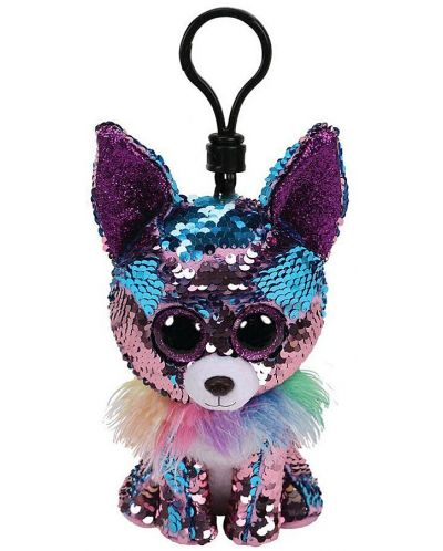 Breloc cu paiete TY Toys Flippables - Chihuahua Yappy, 8.5 cm - 1