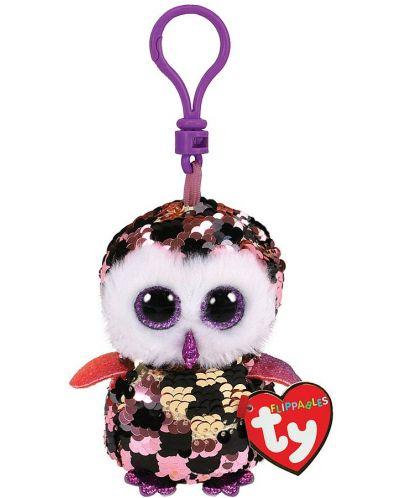 Breloc cu paiete TY Toys Flippables - Bufnita Checks, 8.5 cm - 1