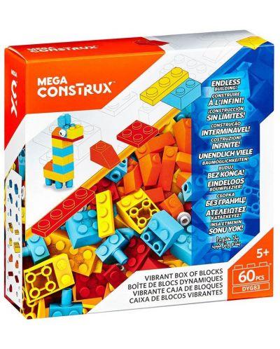 Set de construit Mega Construx Building Bricks - Vibrant Box, 60 de piese - 1