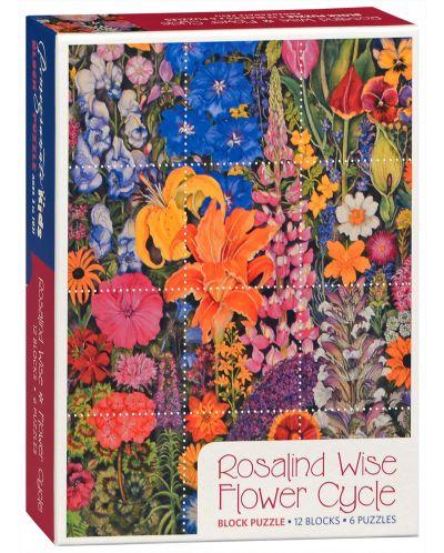 Puzzle-uri cubulete Pomegranate de 12 piese - Flori, Rosalinda Wise - 1