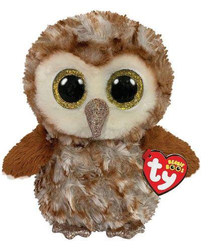 Jucarie de plus TY Toys Beanie Boos - Bufnita Percy, maro, 15 cm - 1