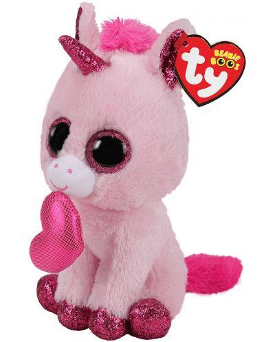 Jucarie de plus TY Toys Beanie Boos - Unicorn indragostit Darling, 15 cm - 2