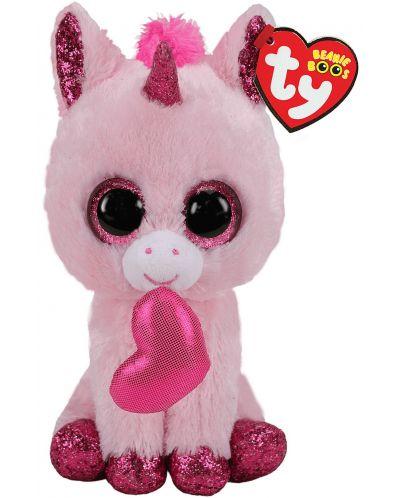 Jucarie de plus TY Toys Beanie Boos - Unicorn indragostit Darling, 15 cm - 1