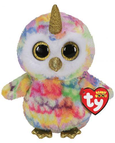 Jucarie de plus TY Toys Beanie Boos - Bufnita cu corn Enchanted, 15 cm - 1