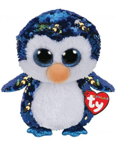 Jucarie de plus cu paiete TY Toys Flippables - Pinguin Payton, 24 cm - 1