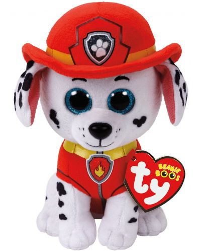 Jucarie de plus TY Toys Beanie Babies - Paw Patrol, Marshall, 15 cm - 1